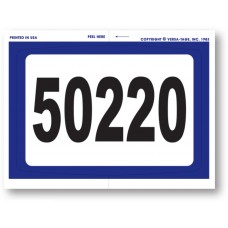 """""""Clear Back"""" Stickers - Numbered with Blue Border - 4-1/2"""" x 6"""" (Package of 250)"""