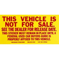 This Vehicle Is Not For Sale Stickers (Package of 100)