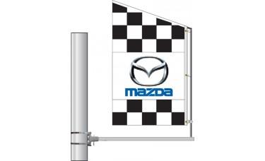 Crazy Bracket Checkered Auto Logo Flag (Double-Faced)