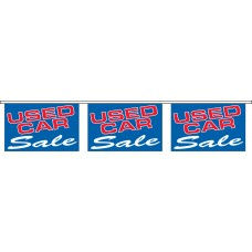 "Used Car Sale Blue Banner Strings - 18"" x 12"" (4 Mil Polyethylene)"