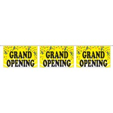 "Grand Opening Yellow Banner Strings - 18"" x 12"" (4 Mil Polyethylene)"