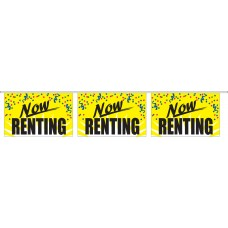 "Now Renting Yellow Banner Strings - 18"" x 12"" (4 Mil Polyethylene)"