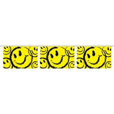 "Happy Face Yellow Banner Strings - 18"" x 12"" (4 Mil Polyethylene)"