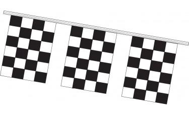 """Rectangle Checkered Flag Black/White Pennant Strings - 9"""" x 12"""" (4 Mil Polyethylene)"""