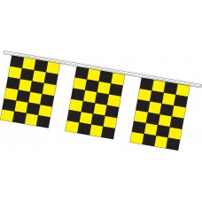 "Rectangle Checkered Flag Black/Yellow Pennant Strings - 9"" x 12"" (4 Mil Polyethylene)"