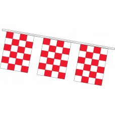 "Rectangle Checkered Flag Red/White Pennant Strings - 9"" x 12"" (4 Mil Polyethylene)"