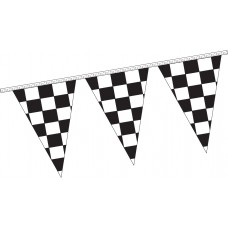 4 Mil Polyethylene Triangle Checkered Pennants - 12in. x 18in.