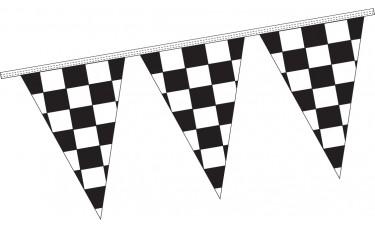 "Triangle Checkered Black/White Pennant Strings - 12"" x 18"" (4 Mil Polyethylene)"