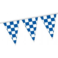 "Triangle Checkered Blue/White Pennant Strings - 12"" x 18"" (4 Mil Polyethylene)"