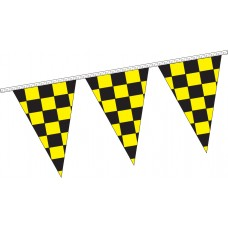 "Triangle Checkered Black/Yellow Pennant Strings - 12"" x 18"" (4 Mil Polyethylene)"