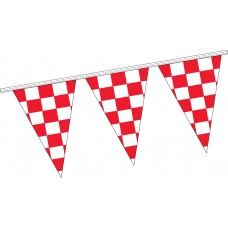 "Triangle Checkered Red/White Pennant Strings - 12"" x 18"" (4 Mil Polyethylene)"