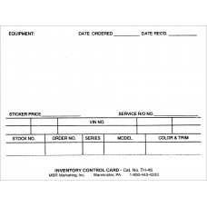 New Car Inventory Card 4in. x 6in. (Package of 250)