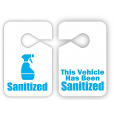 This Vehicle Has Been Sanitized Reusable Plastic Mirror Hang Tags
