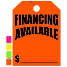 """Financing Available Mirror Hang Tags - 9"""" x 12"""" (Package of 50)"""