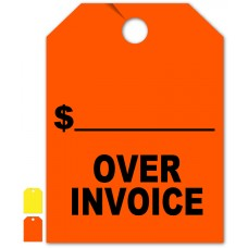 """Over Invoice Mirror Hang Tags - 9"""" x 12"""" (Package of 50)"""