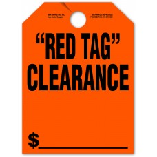 """Red Tag Clearance Mirror Hang Tags - 9"""" x 12"""" (Package of 50)"""