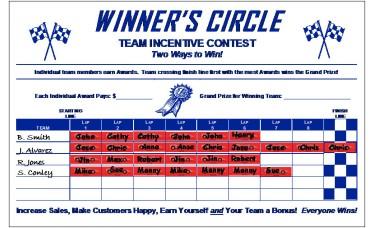 Winner's Circle Sales Incentive Game Board