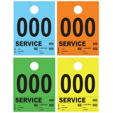 Heavy Colored 4-Part Service Dispatch Numbered Hang Tags (Box of 1000)