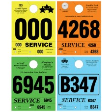 Custom Printed Heavy Colored 4-Part Service Dispatch Numbered Hang Tags (Box of 1000)