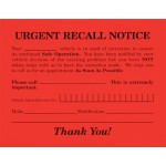 Urgent Recall Notice Postcards