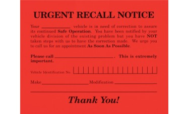 Urgent Recall Notice Postcards (Package of 250)