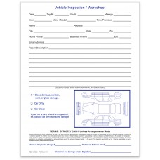 Vehicle Inspection Worksheet Pads