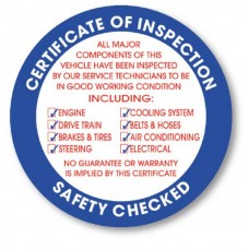 Certificate of Inspection Stickers