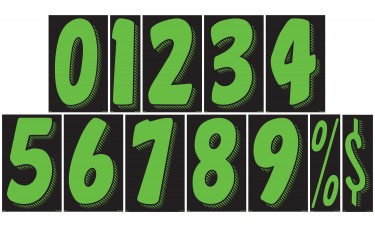 11 1/2 in. Fluorescent Chartreuse & Black Adhesive Windshield Numbers