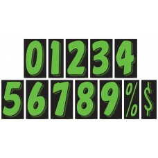 7 1/2 in. Fluorescent Chartreuse & Black Adhesive Windshield Numbers