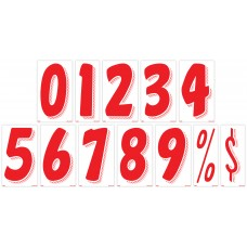 7 1/2 in. Red & White Adhesive Windshield Numbers