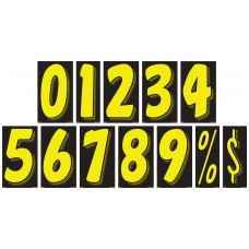 7 1/2 in. Black & Yellow Adhesive Windshield Numbers