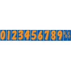 7 1/2 in. Fluorescent Orange & Blue Adhesive Windshield Numbers