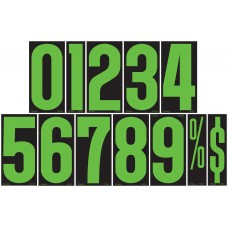 9 1/2 in. Fluorescent Chartreuse & Black Adhesive Windshield Numbers