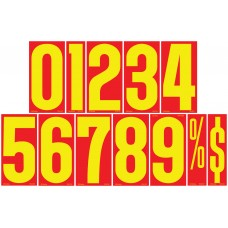 9 1/2 in. Red & Yellow Adhesive Windshield Numbers