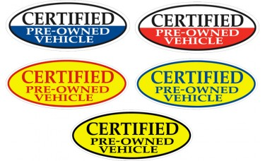 Certified Pre-Owned Vehicle Oval Adhesive Windshield Signs