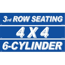 Blue & White Message Slogan Adhesive Windshield Signs