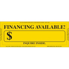 """Clear Back"" Financing Available Adhesive Windshield Stickers"