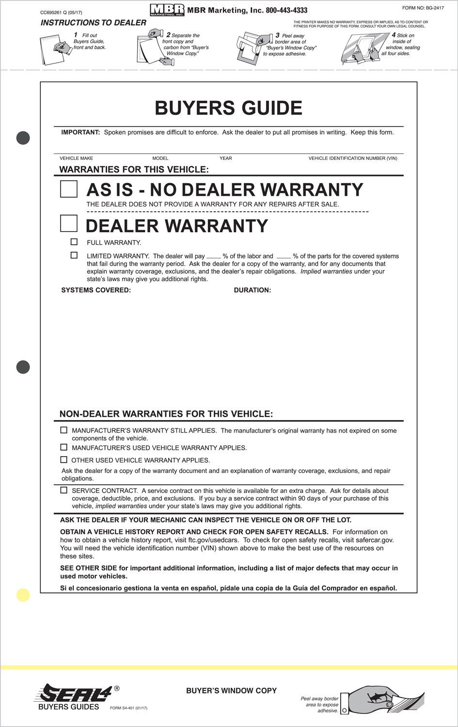Seal 4 Buyers Guide Labels As Is Warranty Package Of 100