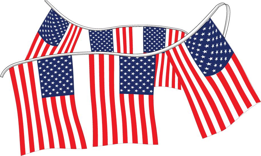 Cloth American Flag Pennants