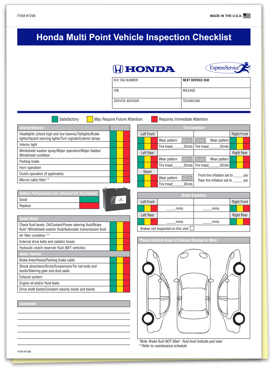 Honda Multi Point Inspection Form Custom Package of 500