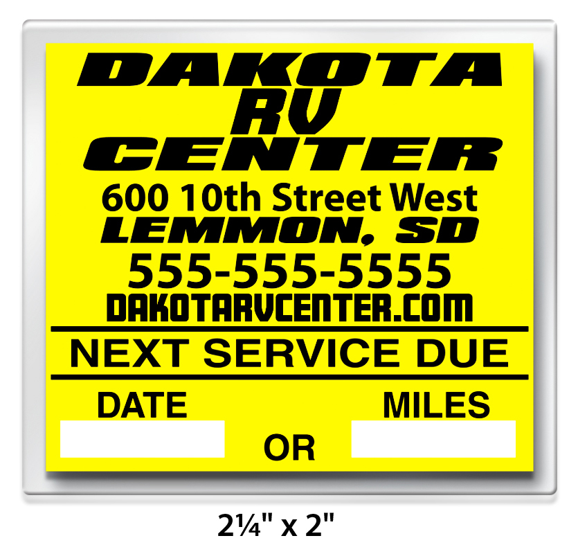 Cheap Design Changes That Have: Custom Write-On Oil Change Sticker Roll Labels (Static Cling